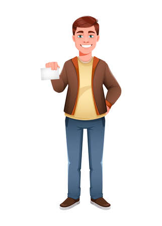 Handsome business man holding blank card. Young businessman cartoon character in flat style. Stock vector illustration Иллюстрация