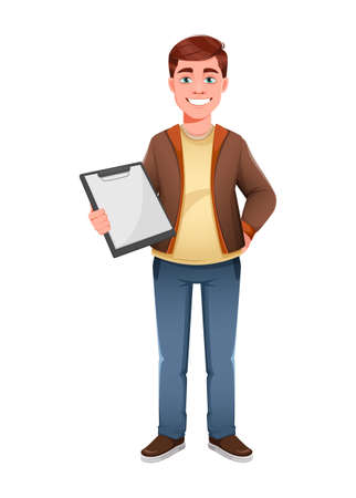 Handsome business man holding blank clipboard. Young businessman cartoon character in flat style. Stock vector illustration Иллюстрация