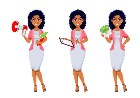 African American business woman, set of three poses. Beautiful businesswoman cartoon character, pretty lady. Stock vector illustration isolated on white background