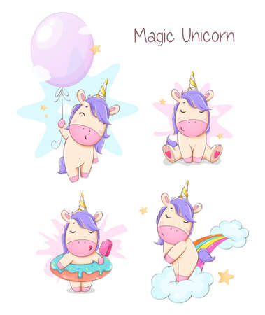 Cute unicorn, set of four poses. Funny magic unicorn cartoon character. Usable for print, invitation and other purposes. Stock vector illustration