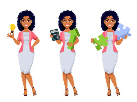 African American business woman, set of three poses. Beautiful businesswoman cartoon character having a good idea, calculating income and solving problem. Stock vector illustration