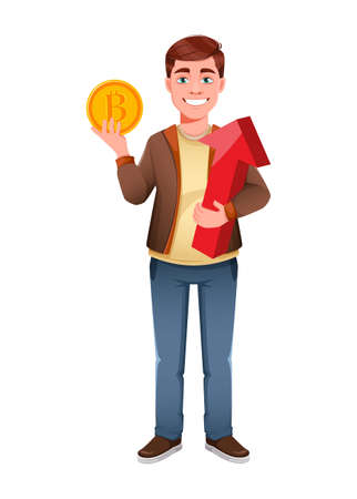 Handsome business man holding bitcoin and red arrow. Young businessman cartoon character in flat style. Stock vector illustration Иллюстрация