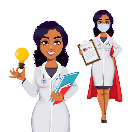 Medicine and pandemic concept. African American female doctor wearing white coat with stethoscope. African woman doctor, set of two poses. Stock vector illustration isolated on white background