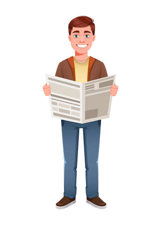 Handsome business man reading fresh newspaper. Young businessman cartoon character in flat style. Stock vector illustration