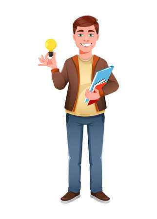 Handsome business man having a good idea. Young businessman cartoon character in flat style. Stock vector illustration Иллюстрация