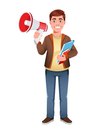 Handsome business man making announcement. Young businessman cartoon character in flat style. Stock vector illustration
