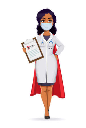 Medicine and pandemic concept. African American female doctor wearing white coat with stethoscope. African woman doctor holding clipboard. Stock vector