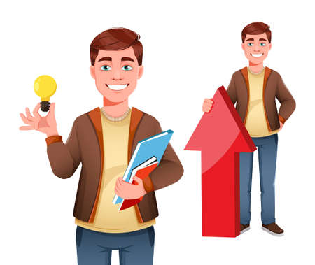 Handsome business man, set of two poses. Young businessman cartoon character in flat style. Stock vector illustration Иллюстрация