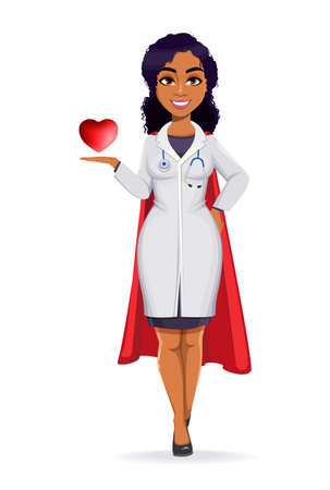 Medicine and pandemic concept. African American female doctor wearing white coat with stethoscope. African woman doctor showing red heart. Stock vector