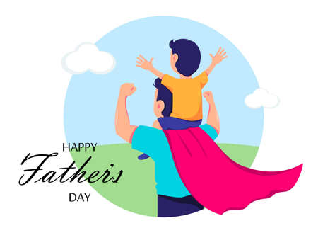 Happy Father's day greeting card. Dad in superhero costume holds son on his shoulders. Cheerful cartoon characters. Vector illustration