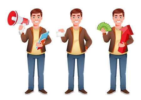 Handsome business man, set of three poses. Young businessman cartoon character in flat style. Stock vector illustration on white background