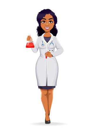 Medicine and pandemic concept. African American female doctor wearing white coat with stethoscope. African woman doctor holding laboratory flask. Stock vector