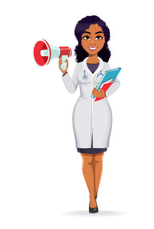 Medicine and pandemic concept. African American female doctor wearing white coat with stethoscope. African woman doctor making announcement. Stock vector