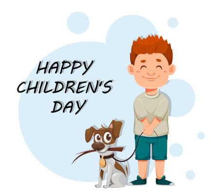 Happy children's day. Cute boy with his dog, cheerful cartoon characters. Stock vector illustration