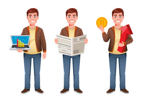 Handsome business man cartoon character, set of three poses. Young businessman. Stock vector illustration in flat style Иллюстрация
