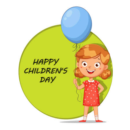 Happy children's day greeting card. Cute little girl with blue balloon, cheerful cartoon character. Stock vector illustration