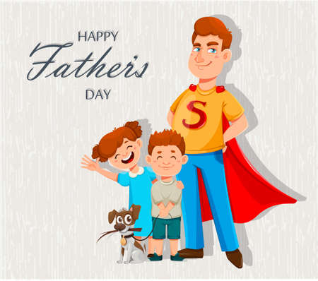 Happy Father's day greeting card. Dad in superhero costume stands with his son and daughter. Cheerful cartoon characters. Vector illustration