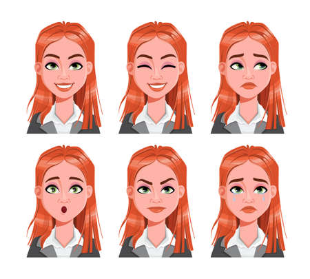 Face expressions of redhead business woman. Different female emotions set. Beautiful cartoon character. Vector illustration usable for avatar, emoticon etc. Ilustração