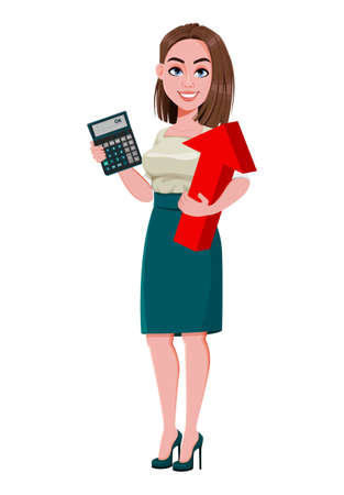 Young successful business woman holding calculator and red arrow. Cute businesswoman cartoon character.  Stock vector illustration on white background Ilustração