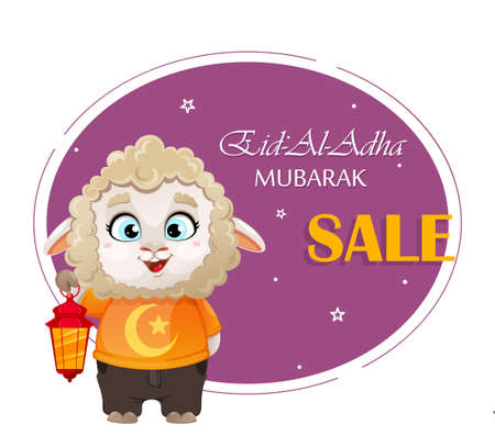 Eid al-Adha Mubarak. Funny cartoon character ram holding lantern. Kurban Bayrami. Vector illustration for traditional Muslim holiday Ilustração