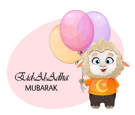 Eid al-Adha Mubarak. Funny cartoon character ram holding balloons. Kurban Bayrami. Vector illustration for traditional Muslim holiday
