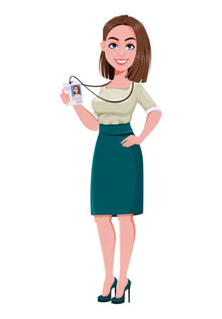 Young successful business woman showing her badge. Cute businesswoman cartoon character. Stock vector illustration on white background