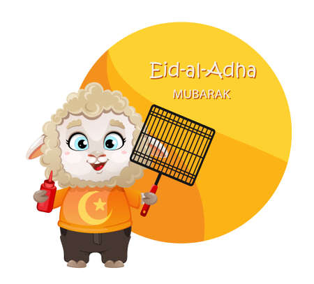 Eid al-Adha Mubarak. Funny cartoon character ram. Kurban Bayrami. Vector illustration for traditional Muslim holiday
