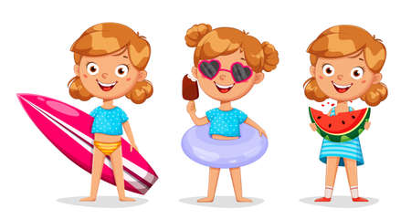 Hello summer concept. Cute little girl cartoon character, set of three poses. Stock vector illustration on white background