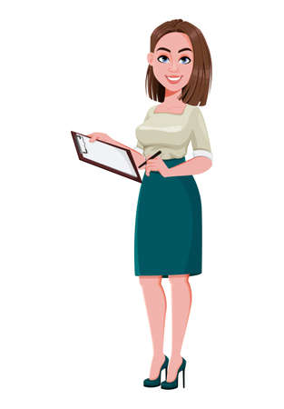 Young successful business woman holding blank clipboard. Cute businesswoman cartoon character.  Stock vector illustration on white background