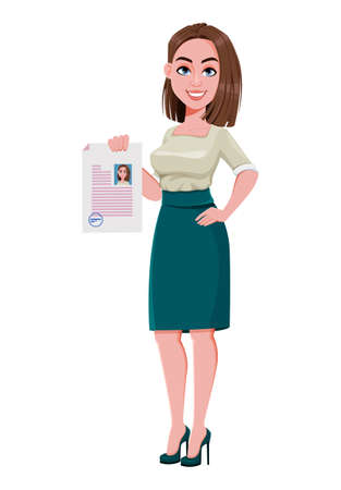 Young successful business woman holding resume. Cute businesswoman cartoon character.  Stock vector illustration on white background Ilustração