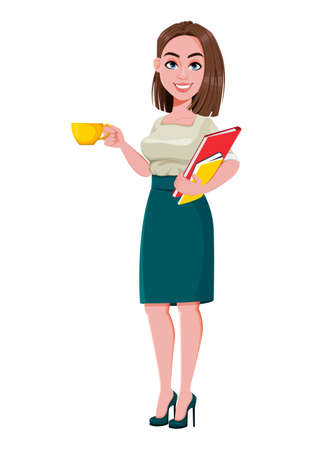 Young successful business woman having a coffee break. Cute businesswoman cartoon character.  Stock vector illustration on white background Ilustração