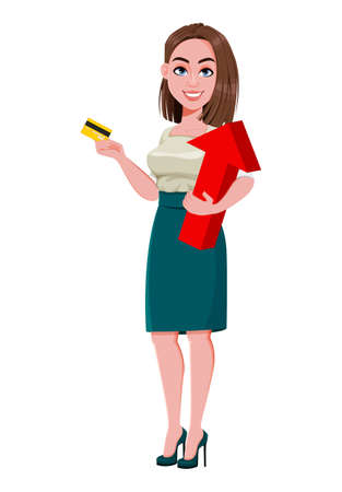 Young successful business woman holding credit card and red arrow. Cute businesswoman cartoon character.  Stock vector illustration on white background Ilustração