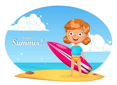 Hello summer concept. Cute little girl cartoon character with surfboard. Stock vector illustration Ilustração