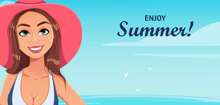 Hello summer. Young beautiful woman in swimsuit having a rest on the beach. Cute lady cartoon character. Stock vector illustration