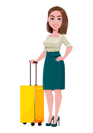 Young successful business woman standing with suitcase. Cute businesswoman cartoon character.  Stock vector illustration on white background