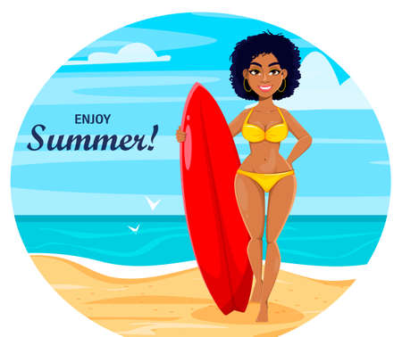 Hello summer. Cute African American surf girl cartoon character standing on the beach. Stock vector illustration