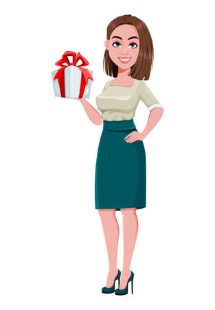 Young successful business woman holding gift box. Cute businesswoman cartoon character.  Stock vector illustration on white background
