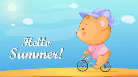 Hello summer. Cute little bear riding a bicycle on the sand beach. Funny cartoon character bear. Stock vector illustration