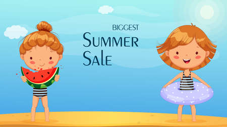 Hello summer concept. Summer sale. Cute little girl cartoon character with inflatable ring and with watermelon. Stock vector illustration Ilustração