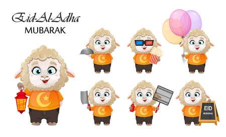 Eid al-Adha Mubarak. Traditional Muslim holiday. Kurban Bayrami. Funny cartoon character ram, set of seven poses. Vector illustration on white background