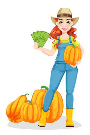 Beautiful woman farmer standing near pumpkins and holding money. Cute girl farmer cartoon character. Stock vector illustration on white background Ilustração