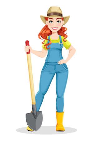Beautiful woman farmer holding shovel. Cute girl farmer cartoon character. Stock vector illustration on white background