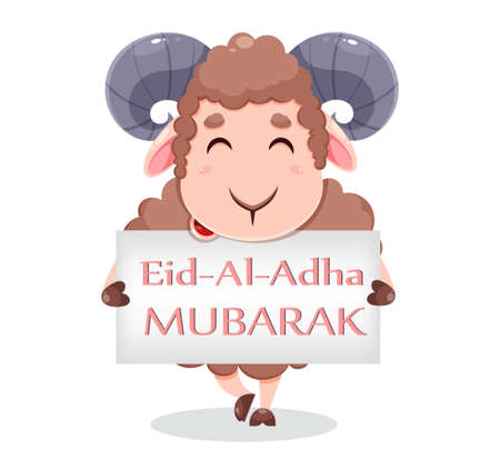 Eid Al Adha Mubarak greeting card with cartoon sacrificial sheep for the celebration of Muslim traditional festival. Funny character ram with placard. Stock vector illustration