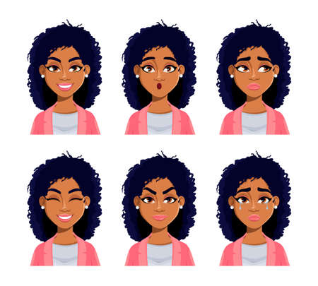Face expressions of African American woman. Different female emotions set. Beautiful lady cartoon character. Usable for avatar, emoticon etc. Vector illustration