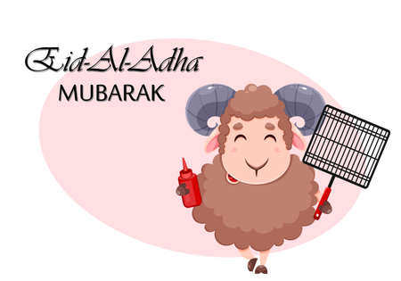 Eid Al Adha Mubarak greeting card with cartoon sacrificial sheep for the celebration of Muslim traditional festival. Ram with barbeque grid and ketchup. Stock vector illustration