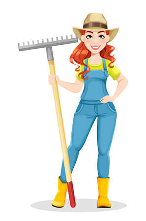 Beautiful woman farmer holding rake. Cute girl farmer cartoon character. Stock vector illustration on white background Ilustração