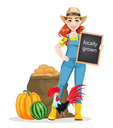 Beautiful woman farmer standing near harvest and rooster. Cute girl farmer cartoon character. Stock vector illustration on white background