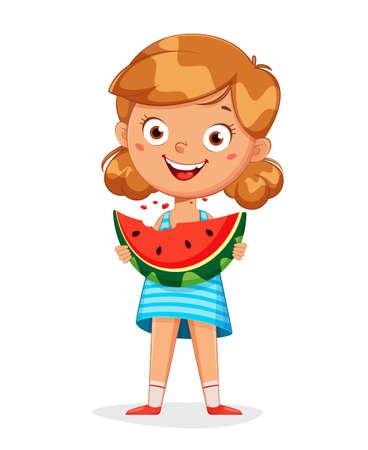 Hello summer concept. Cute little girl cartoon character eating watermelon. Stock vector illustration on white background Ilustração