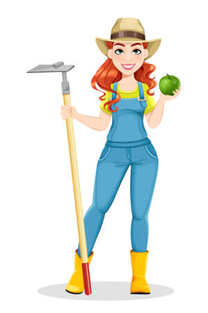 Beautiful woman farmer holding hoe. Cute girl farmer cartoon character. Stock vector illustration on white background