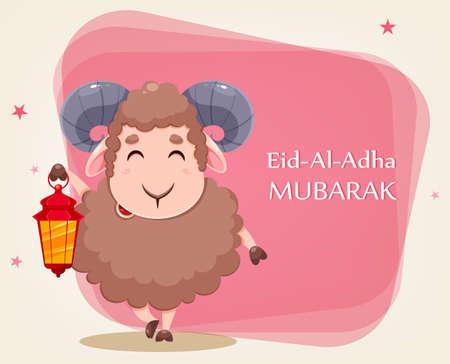 Eid Al Adha Mubarak greeting card with cartoon sacrificial sheep for the celebration of Muslim traditional festival. Funny character ram with lantern. Stock vector illustration Ilustração